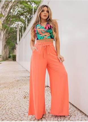 Calça pantalona- cor laranjinha claro
