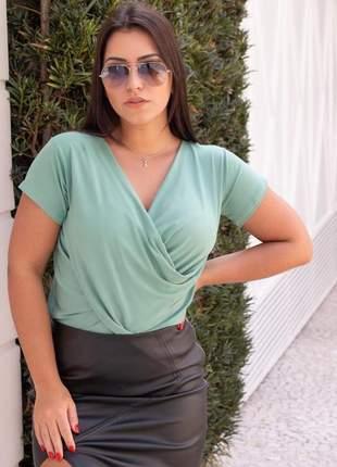 Blusa bata transpassada manga curta moda feminina