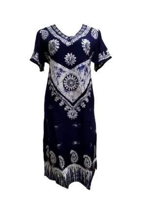 Vestido longo indiano batik manga curta