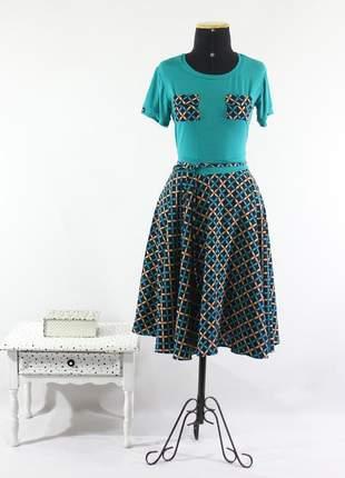 Vestido feminino midi gode duplo rodado moda evangélica