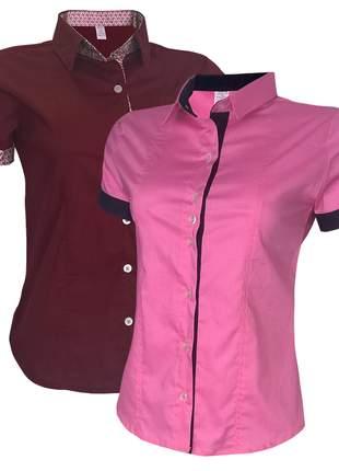 Camisa social feminina kit 2 un vermelho rosa