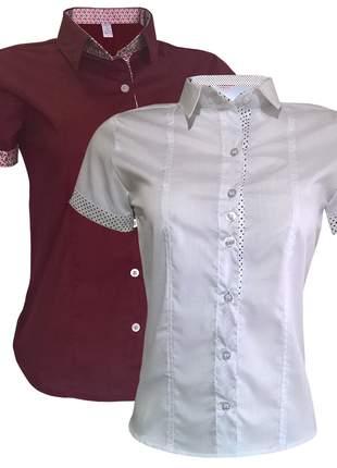 Camisa social feminina kit 2 un branco vermelho