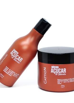 Kit shampoo e máscara de açúcar hidratação profunda cattion