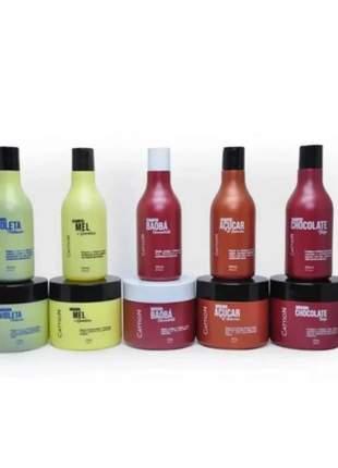 Linha completa shampoo e máscara hidratação maciez cattion cosméticos