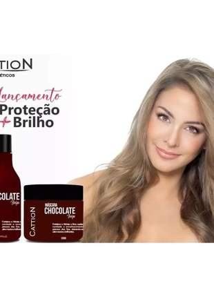 Kit shampoo e máscara chocolate fortalece hidrata  + proteção e brilho cattion