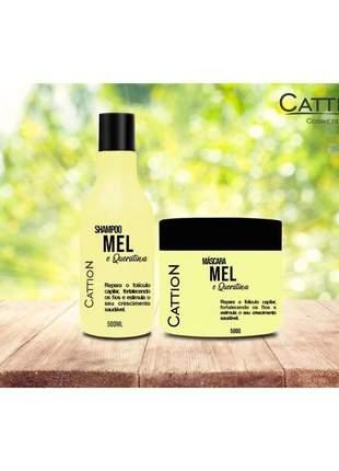 Kit shampoo e máscara mel e queratina hidratação profunda cattion