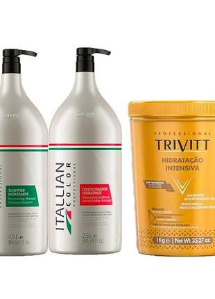 Kit lavatório itallian color shampoo + condicionador + máscara trivitt 1 kg