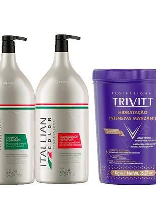 Kit lavatório itallian color shampoo + condicionador + máscara matizante 1 kg
