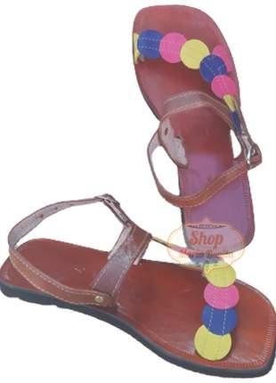 Sandália em couro multicolor