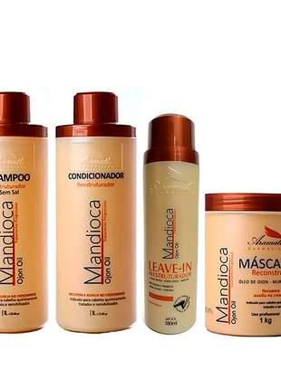 Kit mandioca aramath shampoo + condicionador + leave-in + máscara