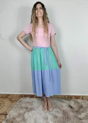 Vestido feminino midi multicolor tendência moda evangélica