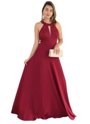 Vestido rosê e marsala longo de festa madrinha de casamento bodas gestante bojo formatura
