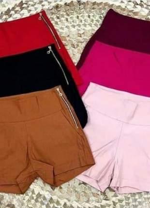 Shorts bengaline feminino zíper lateral