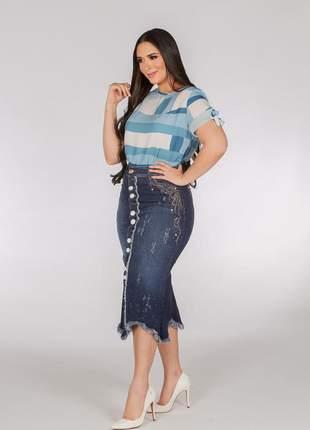Saia jeans midi destroyed botões bordada joyaly evangelica