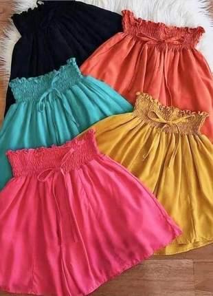 Short solto lastex colorido com elastíco na cintura
