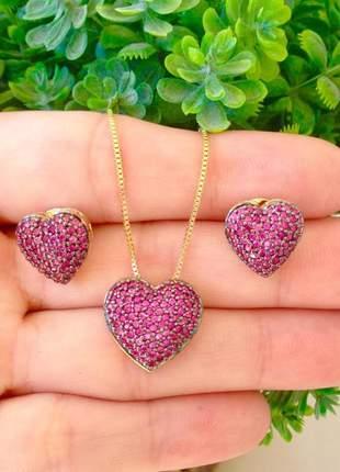Kit brinco +colar feminino coração rubi semi joias finas