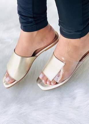 Sandália rasteira feminina metalizada square