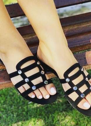 Sandália feminina rasteira nobuk