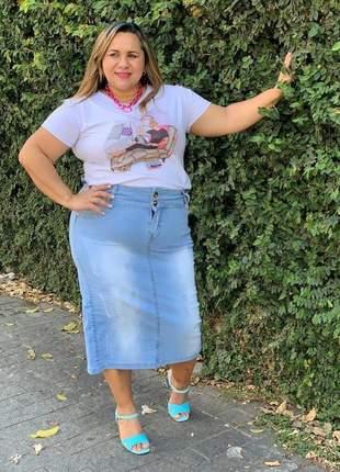 Saia jeans midi feminina plus size destroyed moda evangélica