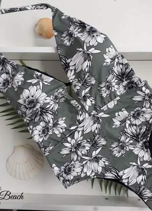 Maiô frente única - floral verde - soulbeach