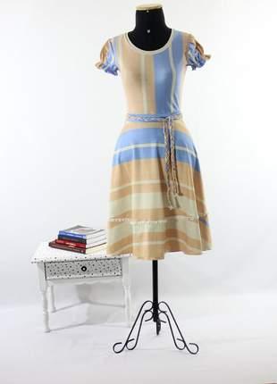 Vestido feminino midi rodado listrado babado moda evangelica