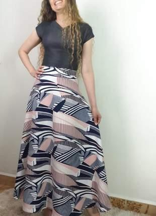 Saia longa linho gode rodada roupas evangelicas