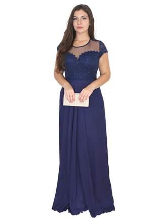 Vestido festa azul marinho senhora bodas casamento madrinha mãe noivo gestante gg longo
