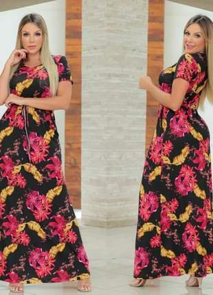 Vestido longo evangelico estampado florido manga curta moda cristã ajuste na cintura