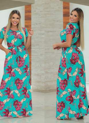 Vestido longo estampado moda evangélico soltinho florido casual