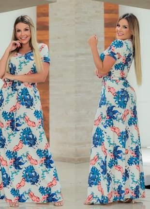 Vestido longo floral manga curta com ajuste na cintura moda evangelica