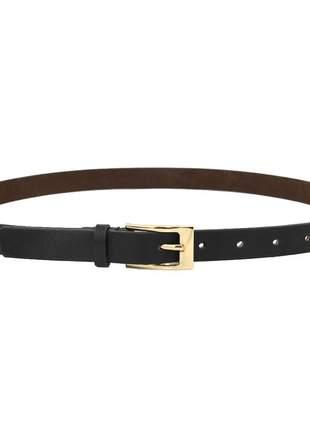 Cinto pierrô social largura 2 cm fivela dourada couro legítimo cor preto