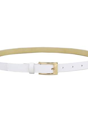 Cinto pierrô largura 2 cm fivela dourada couro legítimo cor branco