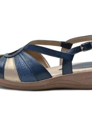 Sandália pierrô conforto ortopédica couro legítimo cor azul com detalhes