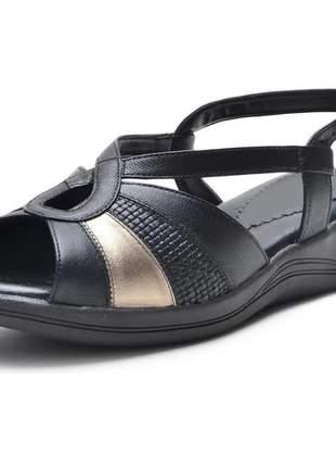 Sandália pierrô conforto ortopédica couro legítimo cor preto com detalhes