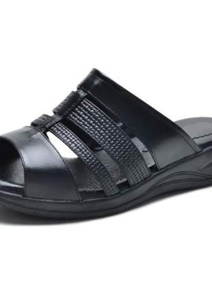 Sandália pierrô conforto ortopédica aberta couro legítimo cor preto