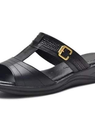 Sandália pierrô conforto ortopédica aberta couro legítimo cor preto com detalhe