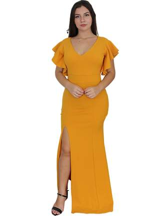 Vestido amarelo longo de festa casamento civil madrinha formatura senhoras manguinha bojo