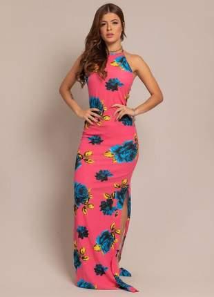 Vestido longo de festa estampado floral com tiras nas costas varias cores