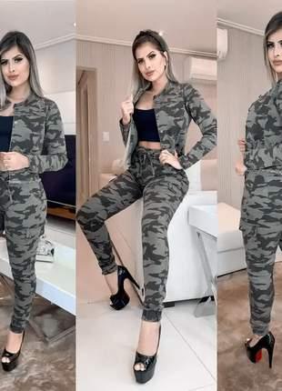 Calça feminina jogger jeans camuflada