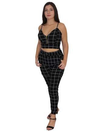 Conjunto feminino croped e calça social reveillon natal ano novo aniversário alcinha preto