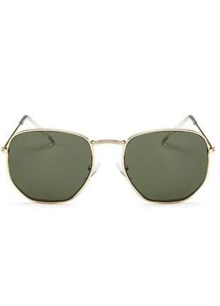 Óculos hexagonal dourado lentes verde