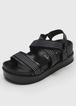 Sandália papete casual preto branco feminino vizzano