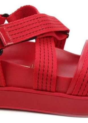 Sandália papete flatform casual vermelho feminino vizzano