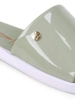 Slide flat vizzano feminino verniz casual prática liso