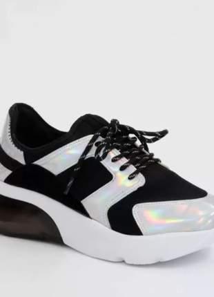 Tênis preto vizzano feminino chunky sneaker solado alto
