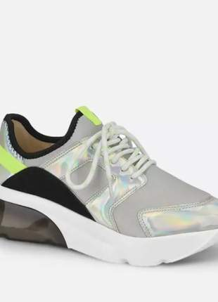 Tênis feminino chunky sneaker vizzano prata tendência