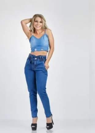 Calça jeans skynny feminino amarração cintura alta 40289