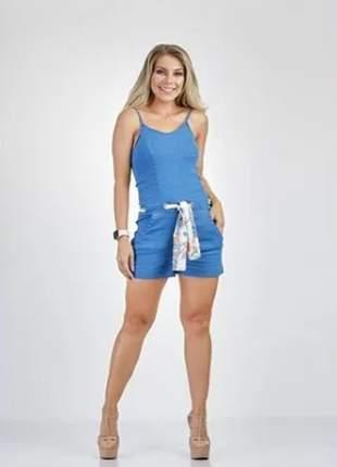 Jardineira feminina casual jeans verão com lenço 90403
