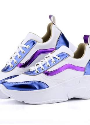 Tênis feminino linha verão branco/azul