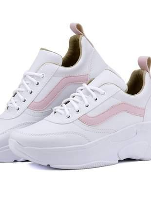 Tênis feminino linha verão branco/rose